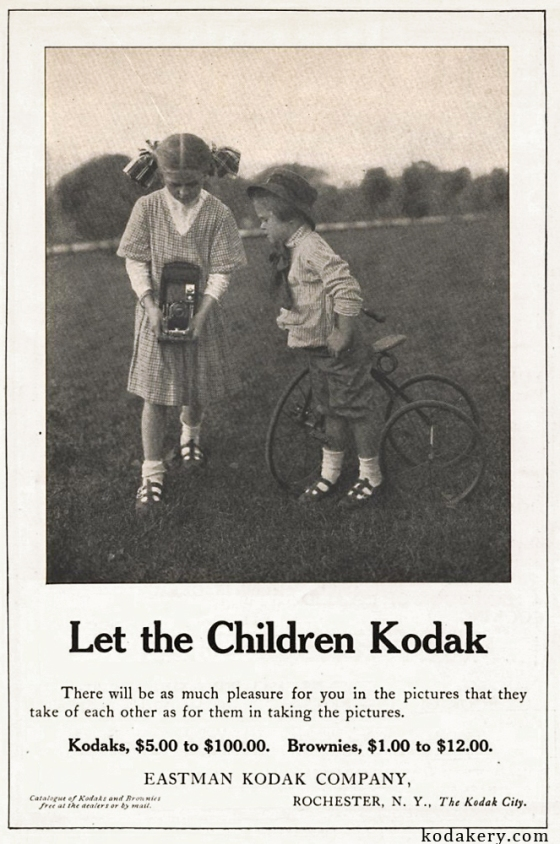 1911 advertisement for Kodak cameras touting their simplicity