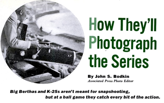 Photo from 1952 Popular Science article on the use of Big Bertha cameras in baseball