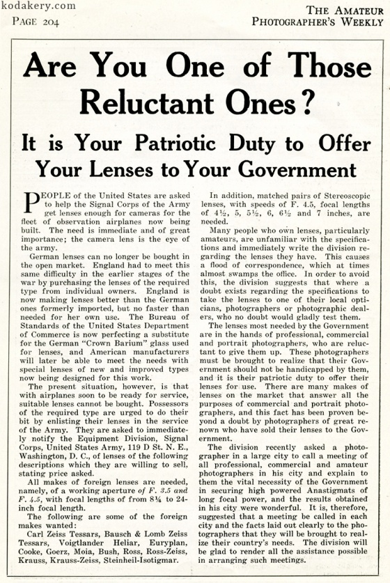 Short article on the need for american photographers to donate their camera lenses to the war effort